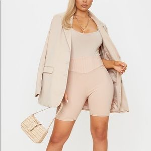 PrettyLittleThing Stone Corset Detail Cycle Short